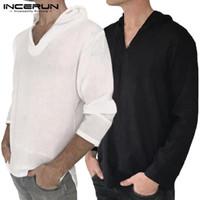 weiße t-shirts v hals männer großhandel-2019 Chic Hiphop Hoodie T-Shirts mit V-Ausschnitt Langarm T-Shirts Baumwolle Freizeithemden Herren Kleidung Weiße T-Shirts Masculina Man