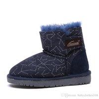 botas de piel azul al por mayor-Niños zapatos de invierno nueva moda piel de piel de dibujos animados negro azul nieve botas para niños niño algodón bebé niño zapatos calzado