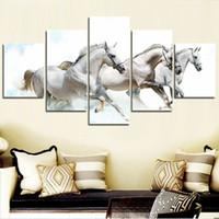 dekoration weißes pferd großhandel-Moderne Leinwand Kunst Modulare HD Poster 5 Panel Running White Horse Malerei Wandbilder Für Wohnzimmer Dekoration Kein Rahmen