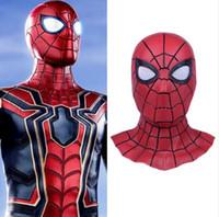 demir örümcek maskesi toptan satış-3D Spiderman Homecoming Maskeleri Avengers Infinity Savaş Demir Örümcek Adam Cosplay Kostümleri Likra Maske Süper Kahraman Lensler
