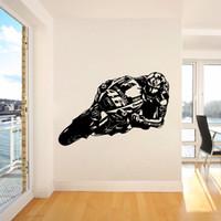 ingrosso decorazione di corsa-Valentino Rossi Motor GP Racing Adesivi murali bambini Moto Scooter Moto Adesivo murale Camera da letto Vinile Decor Poster J040