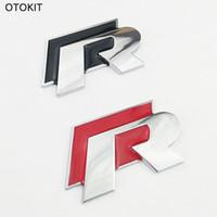 accesorios para vw cc al por mayor-Brand New Metal R Logo Etiqueta Engomada Del Coche para VW Volkswagen Golf Scirocco CC 3D Auto Etiqueta Engomada de la Cubierta Del Coche Accesorios Car styling
