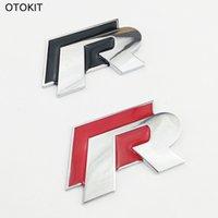 vw cc için aksesuarlar toptan satış-Marka Yeni Metal R Logo Araba Sticker VW Volkswagen Golf Scirocco için CC 3D Oto Sticker Araba Kapak Aksesuarları Araba Styling