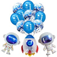 Wholesale happy baby ball for sale - Group buy Rocket Astronaut Foil Balloons Baby Boy Confetti Latex Balloon Favor Toy Happy Birthday Party Decorations Kids Outer Space Balls