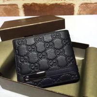 ingrosso in rilievo in pelle-Top Quality Luxury Celebrity Design Lettera Ribbon Embossing Bee Portafoglio Card Pack Pelle di vacchetta uomo nero 233110 Borsa frizione