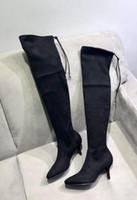 ingrosso sopra il reggiseno della nappa del ginocchio-Stivali da donna con nappina sopra il ginocchio più nuovi di alta qualità Stivali con tacco a spillo in vera pelle moda sexy Stivali alti fino alla coscia
