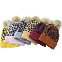 Wholesale crochet football hat resale online - 201909 Styles Leopard knitted Hat Children Baby Women Winter Warm Hats Wool Caps Crochet Knit Cap Cute Fur Ball PomPom Beanie M219F