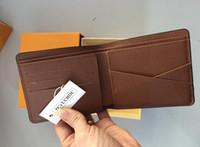 bolsa para hombres pequeños al por mayor-Estilo a cuadros de París Diseñador para hombre billetera hombres famosos marca de lujo monedero pequeño múltiple pequeño con caja 60930