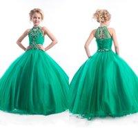 vestidos rhinestones azul verde venda por atacado-Verdes Vestidos Pageant Meninas 2020 New frisada Top strass Cristais Tulle Ruched longas Crianças formal do partido Prom Vestidos BA0248