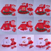 bebek etek tasarımları toptan satış-Bebek Noel Giyim Setleri 21 Tasarım Karikatür Noel Baba Tulum Papyon Ayakkabı Örgü Dantel Etek Bandı Bacak Isıtıcı 4 Adet Kıyafet 0-2 T 04