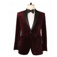 chaquetas de raso color burdeos al por mayor-Escudo de la solapa de la solapa de raso Negro Hombres Traje de lujo de la chaqueta formal masculino Borgoña Partido formal Prom terciopelo Blazer Recta