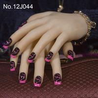 quadratische spitzen nägel fake großhandel-JQ 24X / set Französisch Falsche Nägel 61 Ganz Abdeckung Künstliche Nägel mit Klebeband 10 Größen Platz Dame Nagel-Kunst