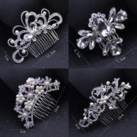 Wholesale feather hair combs resale online - Bridal Wedding Tiaras Stunning Fine Comb Bridal Jewelry Accessories Crystal Pearl Hair Brush utterfly hairpin for bride