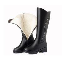 siyah topuk topuk ayakkabıları toptan satış-Kadın Yüksek Çizmeler 2019 Kış Hakiki Deri Bayanlar Uzun Çizme Kürk Yün Kadın Sıcak Siyah Kış Çizmeler Topuklu Diz-Yüksek Boot