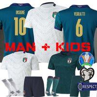 el shaarawy jersey venda por atacado-HOMEM + KIDS 2019 2020 ITALY Europeia Copa de futebol Jersey 19 20 verde escuro JORGINHO EL Shaarawy Bonucci INSIGNE BERNARDESCHI FUTEBOL LONGE branco