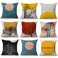 Wholesale cushion cover bird tree resale online - Mountain Tree Sun Moon Cushion Covers Watercolor Painting Flying Birds Palm Leaf Linen Cotton Pillow case X45cm Bedroom Sofa Decoration