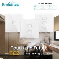 ir painel de iluminação venda por atacado-Broadlink TC2 WiFi Mudar UK UE 1 2 3 Gang Light Switch Touch Panel Smart Home IR + RF trabalho de controle remoto com Alexa Página inicial do Google