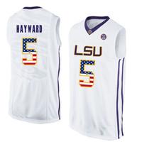 ingrosso pullover di basket usa-Mens Kieran Hayward Jersey Custom LSU Tigers College Basketball Maglie Moda Bandiera USA di alta qualità cucita taglia S-XXL