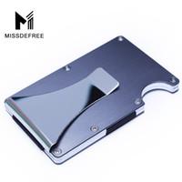 id kreditkartenschutz großhandel-Aluminium RFID, das mini dünnen Mappen-Geldscheinklammer-Metallgeschäfts-Kreditkarte Identifikation-Halter mit Anti-Hauptfall-Schutz blockiert
