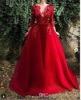 ingrosso pannello esterno staccabile del vestito da cerimonia nuziale rosso-Una linea rossa a maniche lunghe in raso abiti da sposa corsetto staccabile gonna treno