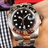 reloj de pulsera ss al por mayor-Nuevo GMT Ceramic Bezel Rose Gold Mens Mechanical SS Movimiento automático Reloj Luxury Sports Auto-wind Jubilee Master Relojes Relojes de pulsera