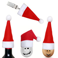 ложный карманный нож оптовых-Christmas Decor Classic Red Santa Hat Covers Xmas Fork Spoon Knife Bag Tableware Pocket Wine Bottle Cap Decorations 0.469