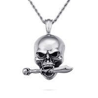 pingentes colar faca venda por atacado-Cool Men Do Punk Hip Hop Esqueleto Crânio Faca Pingentes Colar de Aço Inoxidável 316L Nova Moda Fundição Jóias