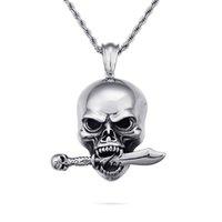 cuchillos esqueleto al por mayor-Fresco Hip Hop de los hombres del punk cráneo esquelético cuchillo collar de los colgantes de acero inoxidable 316L nueva joyería de casting