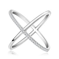 Wholesale x shaped jewelry resale online - Simple letter X shaped micro inlaid zircon ladies ring Copper plated white gold rose gold jewelry