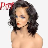 Wholesale deep wave closure side part resale online - PAFF Side Deep Part x4 Lace Front Human Hair Short Bob Wigs Transparent Lace Wavy Blunt Cut Indian Remy Preplucked Closure Wig