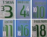 Wholesale numbering stamps resale online - 2014 Brazil green printing soccer namesets NEYMAR JR T SILVA DAVID LUIZ player s stamping stickers Brasil plastic printed football numbering