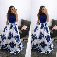 siyah rahat kıyafet toptan satış-Siyah Üst Beyaz Mavi Çiçekler Etek Ile Parti Elbiseler Baskılı Yüksek Boyun Bir Çizgi Ucuz Uzun Kolsuz Casual Abiye giyim 2067