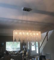 lustre rectangulaire led achat en gros de-Lustre rectangulaire moderne d'illumination de lustre d'île d'éclairage de crysal de LED pour le salon L32 de salle à manger