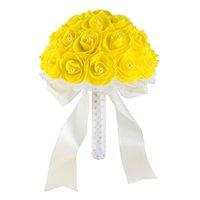 ramos de novia amarillo al por mayor-Nuevo amarillo blanco azul flores de la boda Ramos de novia hecho a mano Artificial Rose ramo de novia para la boda