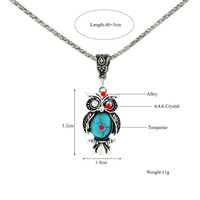 Wholesale bohemian owl necklace resale online - European and American Foreign Trade Necklace Earrings Retro Bohemian Style Turquoise Owl Necklace Set Clavicle Chain