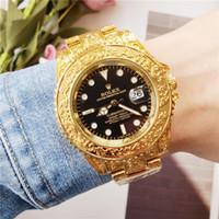 projetos de caixas de presente de luxo venda por atacado-2019 Retro Novo Design RLX Luxo Mens Relógios de Alta Qualidade de Quartzo Esculpido Dials de Negócios dos homens Relógio de Pulso Com Caixa de Presente