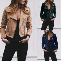 biker anzug großhandel-Frauen Retro Jacke Revers Anzug Kragen Slant Reißverschluss Mantel Outwear Herbst Frühling Basic Short Biker Jacken Plus Größe LJJA2829