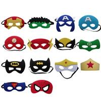 yarım göz maskeli maskeler toptan satış-15 adet / grup Masquerade Bebek Çocuk Çocuk Süper Kahraman Süper Kahraman Yarım Yüz Göz Maskesi Kostüm Partisi Cadılar Bayramı Maskeleri Doğum Günü Hediyeleri