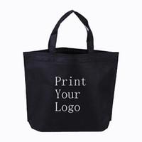 sacos de compras tecidos feitos sob encomenda venda por atacado-300 pcs Não tecido sacos personalizados Imprimir seu logotipo fazer logotipo em sacos de compras Venda de custo de compra sair 50%