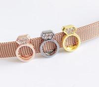 etiquetas de nombre al por mayor-10 Unids Mixed color Anillos Slider Charms Beads Fit 8mm Collar Del Animal Doméstico Nombre Cinturones Etiquetas Pulseras Pulseras
