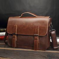 Wholesale satchel for laptop for sale - Group buy Messenger Bag for Men Vintage PU Leather Briefcase inch Laptop Crossbody Shoulder Casual Bags Business Work Tote Satchel