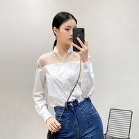 Wholesale collars for blouses for sale - Mesh Patchwork Shirts For Women Lapel Collar Long Sleeve Casual Blouse Tops Female Spring Fashion Clothes