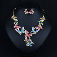 Wholesale aqua blue jewelry sets resale online - Gorgeous Statement Necklace and Earrings Set with Butterflies Crystal Gold Chain Costume Drag Queen Jewelry for Party Carnival Colors Se