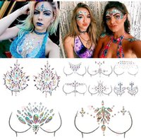 styles de maquillage de fête achat en gros de-Adhésif Diamant Gems Collant Autocollant Maquillage Visage Boob Bijou Cristal Festival Gems Partie Maquillage Autocollants Pour Body Art 14 Styles RRA1461