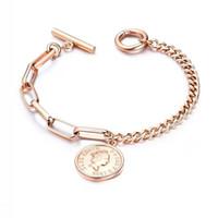 pulseras de monedas de las mujeres al por mayor-Moda Europea EE. UU. Joyas de estilo para mujer Queen Head Coin Charm Bracelet Silver and Gold Color