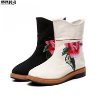 chinesische flache stiefel großhandel-Frauen Frühling Stiefeletten Chinesische Alte Peking Flache Einzelne Stiefel Ethnische Floral Gestickte Tuch Plattform Schuhe Zapatillas Mujer