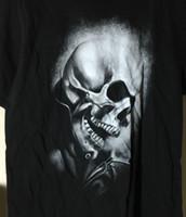siyah deri tişört kadın toptan satış-Marvel Comics Mad Motor Ghost Rider Kafatası Yüz Deri Ceket-T Gömlek M Erkek Kadın Unisex Moda tshirt Ücretsiz Kargo siyah