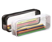 Wholesale clear pvc makeup case resale online - 200pcs PVC Cosmetic Bag Zipper Pouch School Students Clear Transparent Waterproof Plastic PVC Storage Box Pen Case Mini Travel Makeup Bags