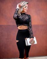 ingrosso abito rosso fasciato nero merletto-2018 nuove donne vestono all'ingrosso pizzo nero due pezzi set vestito dalla fasciatura partito rosso dropshipping + vestito