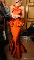 haifa langes kleid großhandel-Heiß ! Neue 2019 Arabien Gold Satin Myriam Haifa Celebrity Kleider Backless Mermaid Lange Abendkleider Mit Schößchen Celebrity Kleider 550